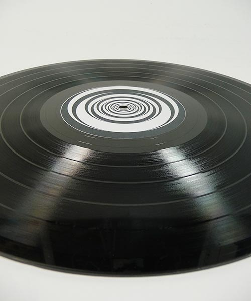 Custom black vinyl record with custom labels