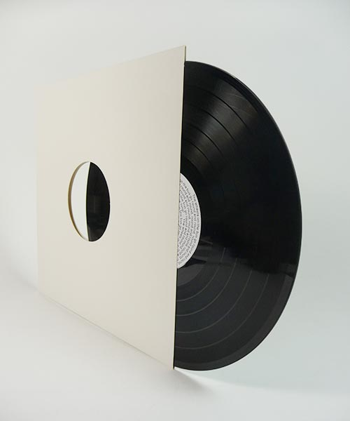 Custom vinyl record housed in a standard white cover